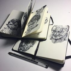 Gaia Alari - Old notebook, complete, new notebook freshly started ! #art #artist #drawing #sketch #sketchbook #study #practice #moleskine #notebook #ink #pen #ballpoint #ballpointpen #realism #portrait #diaries #artbook #graphic #illustration #blackandwhite #monochrome #marco