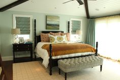"""Master Bedroom by TS Interiors & Art, Manhattan Beach. """"Silver Skies"""" painting by Tricia Strickfaden"""
