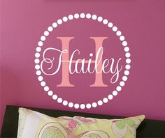 Children Wall Decal Circle Baby Name & Initial Monogram - Nursery Wall Decal -Vinyl Lettering -Vinyl Wall Art. $19.00, via Etsy.