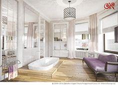 Дизайн ванной комнаты с паркетным полом