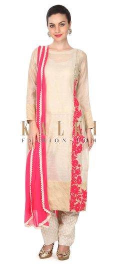 Buy this Beige straight suit in thread embroidery only on Kalki