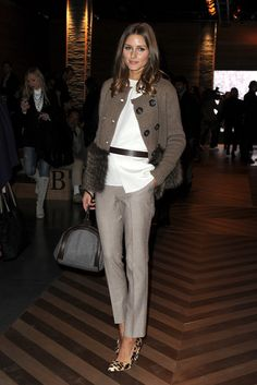 Olivia Palermo: Olivia Palermo kept it classy with sleek tailored trousers — we love the the subtle plaid print as a great addition to a more formal daytime look.