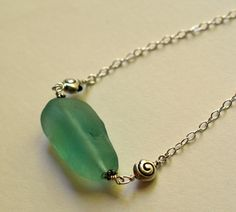 Light Green Large Sea Glass Necklace, $120.00