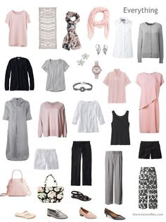 a Travel Capsule Wardrobe in black, white, grey and pink