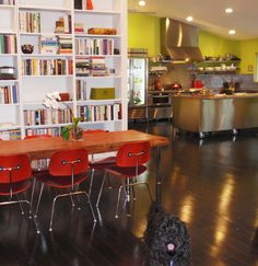 I like this open layout and commercial looking kitchen.