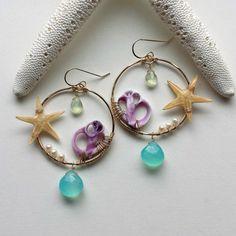Starfish Beach Hoop Earrings Purple Shell by BellaAnelaJewelry Wing Earrings, Shell Earrings, Shell Necklaces, Beaded Earrings, Earrings Handmade, Handmade Jewelry, Hoop Earrings, Shell Jewelry, I Love Jewelry