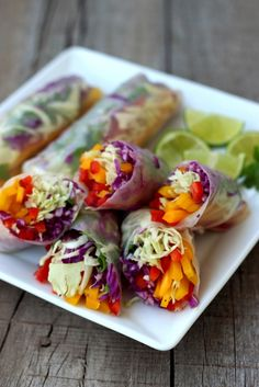 Rainbow Vegetable Rolls and Spicy Peanut Sauce (sub almonds and coconut aminos for Paleo)