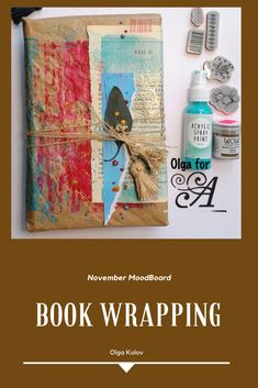 book - wrapping - mixedmedia Book Wrap, Acrylic Spray Paint, Gift Packaging, Christmas Time, Wraps, Gift Wrapping, Books, Painting, Art