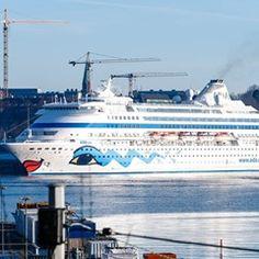 Cruise ship 'AIDACara' off the Baltic sea coastline in Kiel