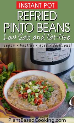 Easy to make and ready when you are to make your favorite quesadilla or burrito recipe. Refried Pinto Beans Recipe, Vegan Refried Beans, Canning Refried Beans, Pinto Bean Recipes, Vegan Mexican Recipes, Whole Food Recipes, Healthy Recipes, Healthy Food, Diet Recipes