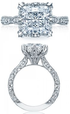 Glamorous diamond engagement ring from Tacori's RoyalT collection. Via Diamonds in the Library.