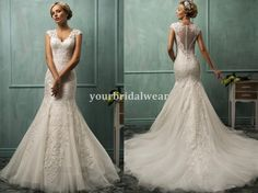 Wedding dresses lace elegant cover back button back marmaid fishtail v neck 35 in Clothes, Shoes & Accessories | eBay
