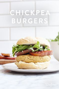 Chickpea Burgers. They're meat-free and absolutely delicious. These patties are filling and flavorful and perfect for dinner.