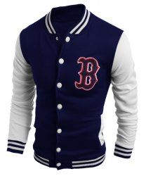 Stand Collar Letter Embroidered Long Sleeve Thicken Men's Baseball Jacket