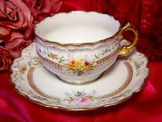 Antique Limoges RARE Double Marked Roses Violets Gold Demitasse Cup Saucer.