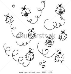 Ladybugs And Lines Cartoon Isolated On A White By Fandorina Liza, Via  ShutterStock