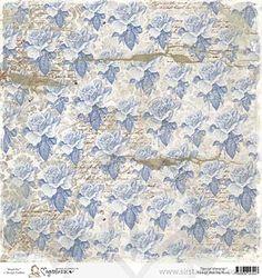 SM13 Magnolia Ink Paper - Vintage Blue Ink Roses