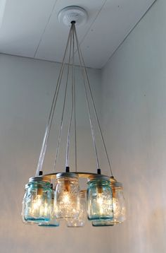 Beach House Mason Jar Chandelier - Upcycled Hanging Mason Jar Lighting Fixture Direct Hardwire - BootsNGus Lamps Rustic Home Decor. Mason Jars, Lamp, Handmade Lighting, Mason Jar Lighting, Rustic Lamps, Mason Jar Chandelier, Light, Chandelier, Hanging Pendant Lights