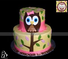 pictures of owl birthday cakes | owl cake two tiers 1st birthday owl cake designed to match the ...