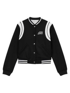 Straight-cut long-sleeved varsity-style jacket with patch on chest. Luxurious black wool and cashmer… - Online Shop Maje Raglan, Tweed, Maje Clothing, Lace Playsuit, Coat Sale, Wool Suit, Trouser Suits, College Fashion, Facon