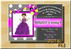 Chalkboard Birthday invitation girl birthday by DigitalitemsShop