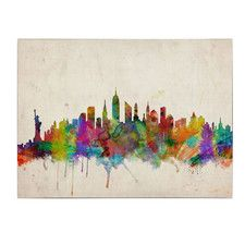 """""""New York Skyline"""" by Michael Tompsett Painting Print on Wrapped Canvas"""