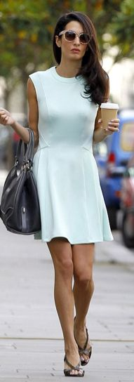 99700a1b6dcd8a -Amal Alamuddin dressed in a summer skater dress by Ted Baker in London.  Amal