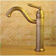 Poignée simple Centerset salle de bain lavabo robinet laiton Antique finition