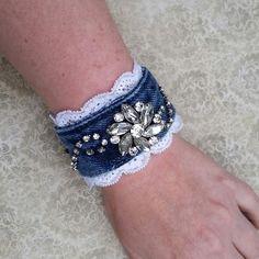 Denim cuff bracelet, upcycled jeans, recycled jewelry, rhinestone bangle, upcycled denim jeans, brooch jewelry