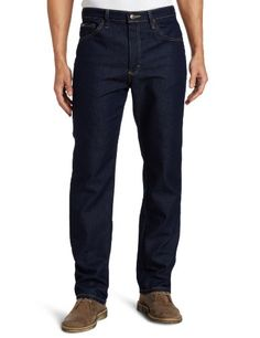 Lee Men's Regular Fit Straight Leg Jean, Indigo Stretch, 40W x 34L:   Zip fly with button closure.  Buttons on the fly can vary by item and come in Silver or Copper.