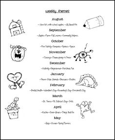 WEEKLY THEMES (pre K curriculum ideas)