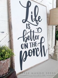Life Is Better On the Porch wood sign sign farmhouse sign porch decor rustic Rus Rustic Wood Signs Decor Farmhouse life Porch rus Rustic Sign Wood
