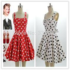 40 s 50 s 60 s Vintage Audrey Hepburn Style dames été Polka Dots imprimer soleil sangle Mini robe rouge blanc couleur , Plus la taille Vestidos dans Robes de Accessoires et vêtements pour femmes sur AliExpress.com | Alibaba Group