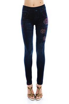 6810ccf0932ee3 VIRGIN ONLY Women's Denim Jeans Printed Elastic Waist Band Seamless Legging  (1609B Navy, One Size)