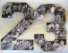 Two Custom Photo Number Collage Alphabet Collage for Birthdays, Anniversary,  Retirement Photo Collage