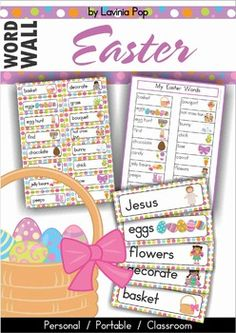 Easter Vocabulary Word Wall - non-religious and and religious versions includedAbout this book:This packet contains:- a personal word wall to go inside a student binder- a portable file-folder word wall (optional background: color or white)- large classroom word wall cards (optional background: color or white)- word wall worksheets- blank file folder and word wall cards for you to add your own wordsClassroom word walls are a fantastic tool for learning new vocabulary.