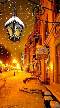 ↑↑TAP AND GET THE FREE APP! City Shining Golden Winter Snow Street Evening Lights Lantern HD iPhone 5 Wallpaper
