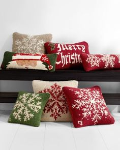 Hooked Wool Holiday Pillow Cover Collection - red