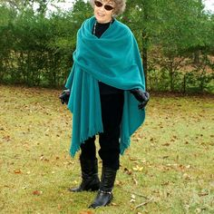 Teal Green Anti Pill Fleece Wrap, Poncho, Cape, Blanket Scarf or Shawl with Fringe--Lightweight Warmth--One Size Fits Most by YoungbearDesigns on Etsy