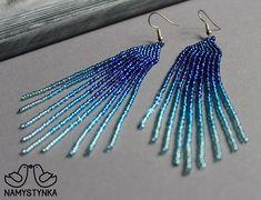 Blue long earrings Beaded earrings Fringe earring Seed bead