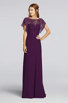 A delicate Chantilly lace flutter-sleeve bodice is paired with a floor-length chiffon skirt on this long bridesmaid dress. A thin ribbon accents the waistline. Wonder by Jenny Packham- Exclusively at David's Bridal. Bridesmaids Gowns With Sleeves, Davids Bridal Bridesmaid Dresses, Black Bridesmaid Dresses With Lace, Chiffon Gown, Sheer Chiffon, Lace Sleeves, Lace Bodice, Beautiful Dresses, Marie