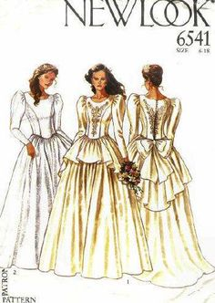 New look 6541 Historical Costume Vintage Prom Dress Evening Ball Gown Formal Wedding Bridal Juniors Women's Misses' sewing pattern @TimeTravelStyle #timetravelcostumes