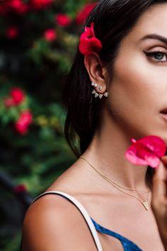 Cute summer earrings - ear jacket and pearl stud earrings