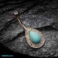 Golden Avice Turquoise Multi-Gem Belly Button Ring por BM25Jewelry