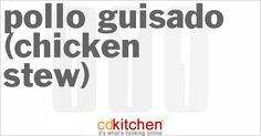 A recipe for Pollo Guisado (Chicken Stew) made with boneless, skinless chicken breasts, potatoes, salt, sofrito, tomato sauce, olives, bay