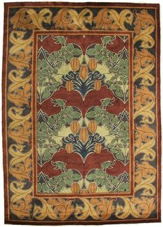 """The """"Lily & Vine"""" ~  Available in three colorways, all with an authentic Arts and Crafts Movement period color palette which coordinates beautifully with both antique and reproduction furniture, textiles, and wall coverings. And like all Guildcraft Carpets, it is hand-knotted by adult artisans in a Goodweave-certified workshop."""