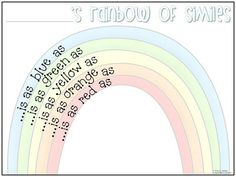 Simile Rainbow - here's a quick lil simile review or introduction- depending on which grade level you teach