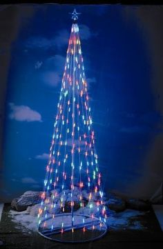 """$149.99 Item # 61375    10' Multi Color outdoor/indoor LED tree  Indoor / Outdoor Use  Easy Set-up in less than 20 min*  Super bright multi-color LED  283 Weather resistant LED bulbs  Lighted Star Topper  Base Diameter: 48""""  Safe and No Heat from Lights  Green environmentally friendly  Super Compact Design for Storage after Holidays  Study Metal Alloy Construction with Powder Coating       *set-up time may var ..."""