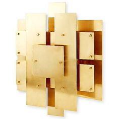Jonathan Adler Puzzle Sconce ($695) ❤ liked on Polyvore featuring home, lighting, wall lights, polished brass lighting, brass lamp, puzzle light, brass wall lamp and jonathan adler