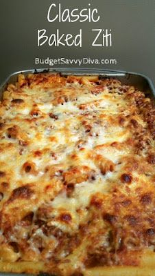 Recipes, Dinner Ideas, Healthy Recipes & Food Guide: Classic Baked Ziti
